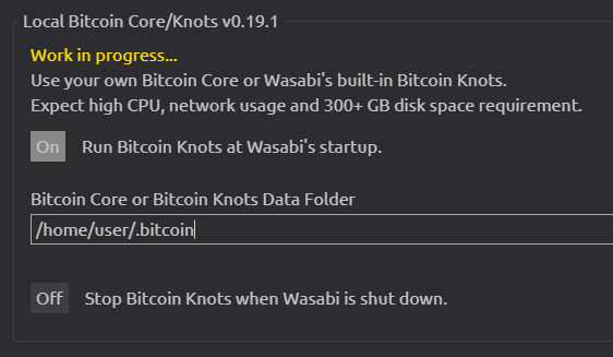 Wasabi Wallet Bitcoin Knots full node integration