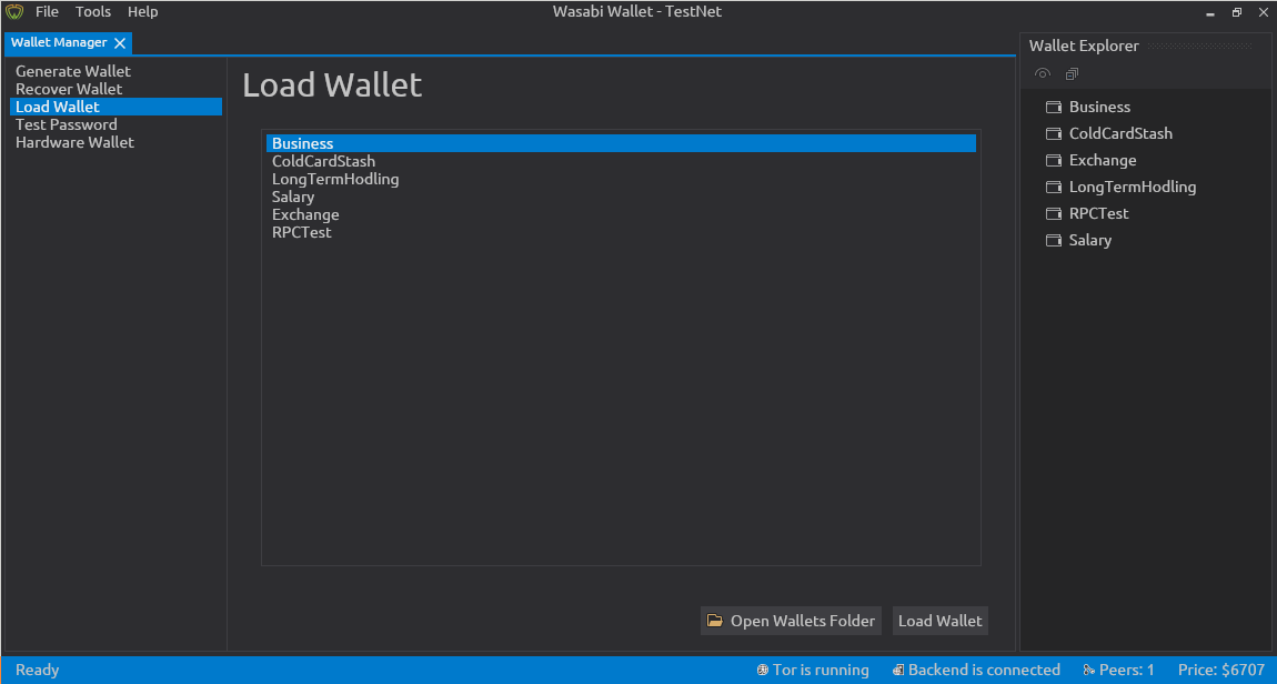 Load Wallet in Wasabi