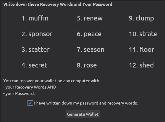 Wasabi Wallet recovery words